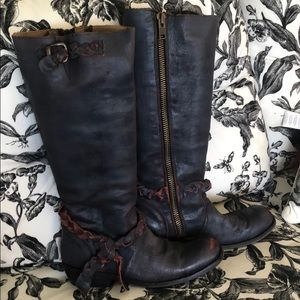 Navy/pink western boots